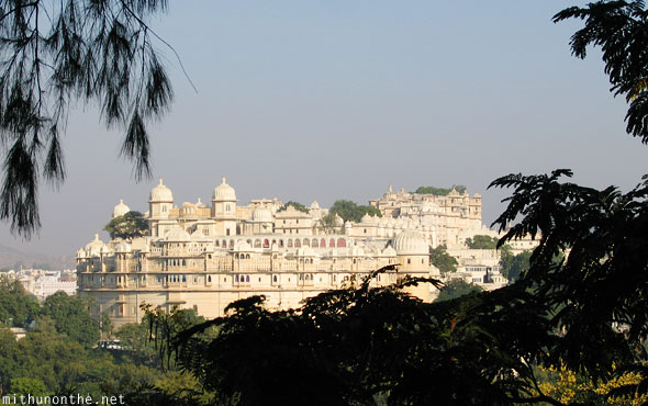 Udaipur city palace from afar Rajasthan