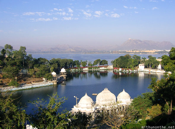 Udaipur lakes higher view Rajasthan India