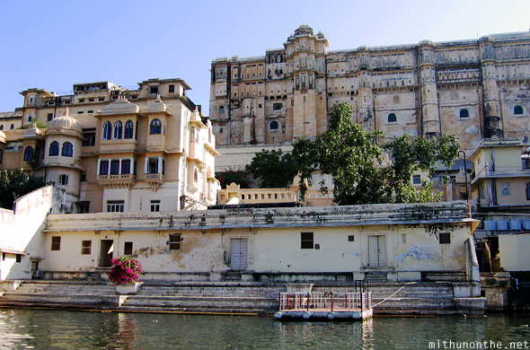 Udaipur palace hotel lake steps