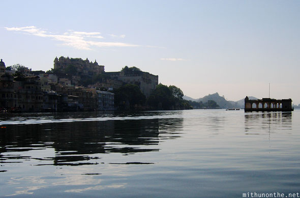 Udaipur Shiv Niwas palace complex from Lake Rajasthan