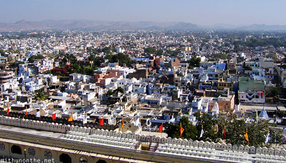 View of city from Udaipur palace Rajasthan India