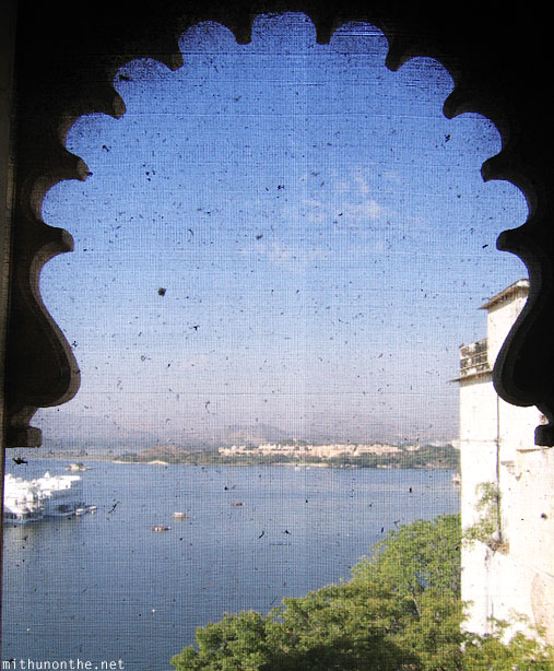 View through window mesh Lake Pichola Rajasthan