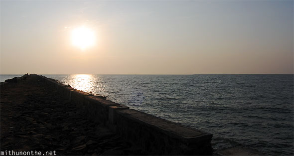 Beypore beach stone pier evening sunset paranomic