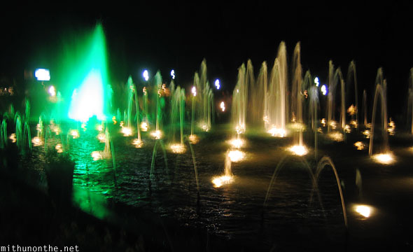 Brindavan gardens fountains at night Mysore