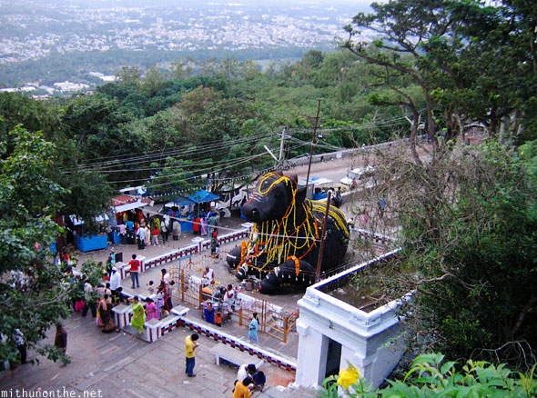Chamundi hills Nandi statue from above