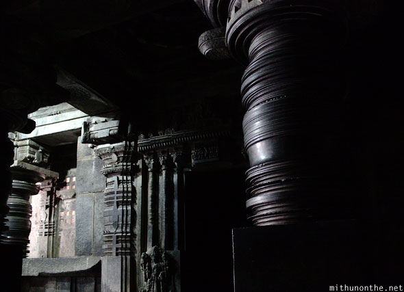 Inside granite stone temple Somnathpur Karnataka India