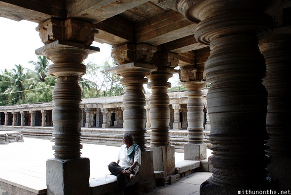 Kesava temple pillars old man Somnathpur India