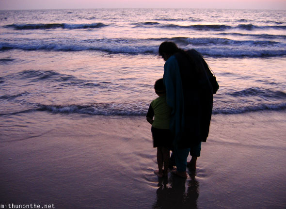 Mother son Payyambalam beach Kannur