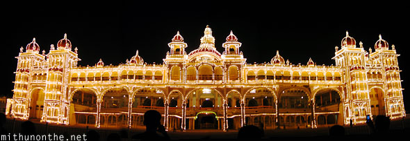 Mysore palace at night Dussera panoramic Karnataka India