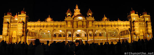 Mysore Palace at night panorama