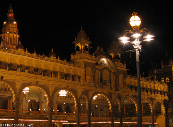 Mysore palace street lamp at night