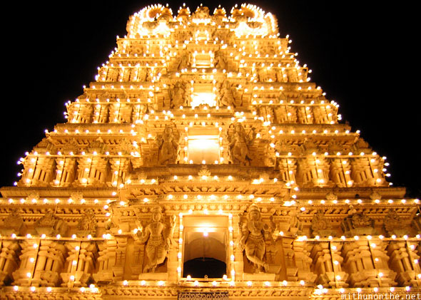 Mysore palace temple lights Dasara
