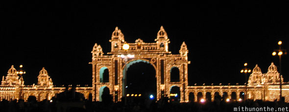 Mysore Palace walls lit up at night