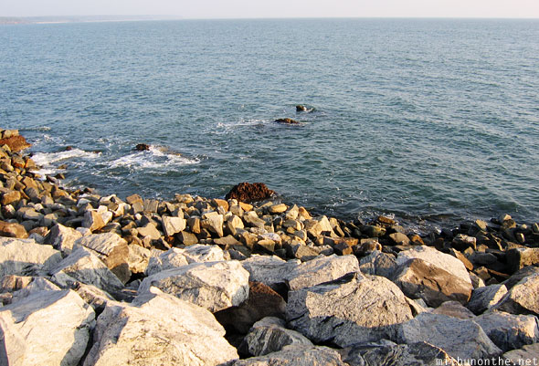 Rocks shore Arabian sea Kannur