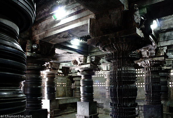 Somnathpur temple granite stone pillars carving