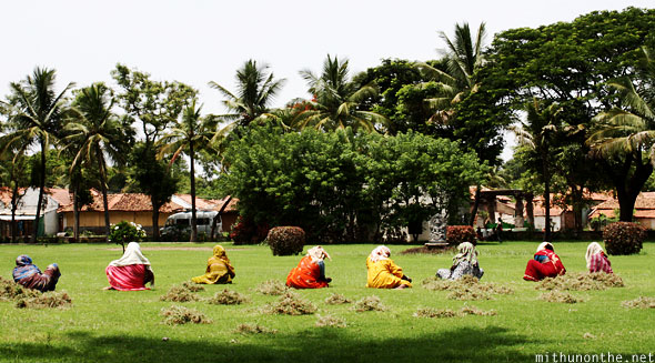 Somnathpur temple grass lawn women India
