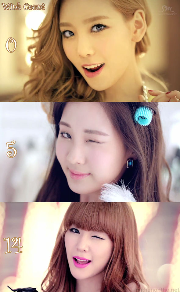 Taetiseo Twinkle MV wink count SNSD members
