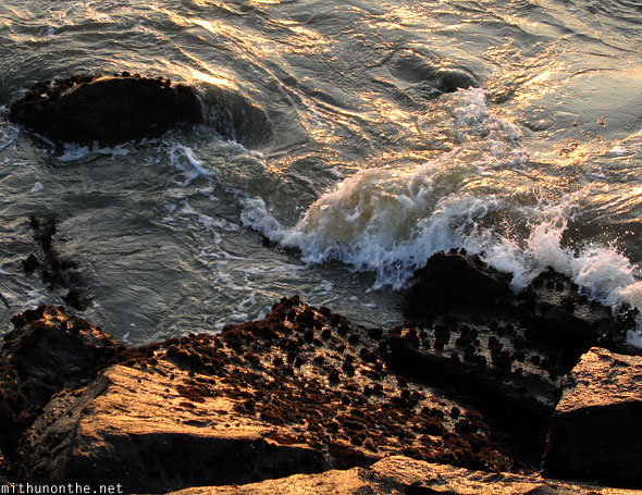 Waves rocks Beypore Calicut India