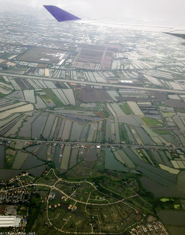 Bangkok fields aerial views Thailand