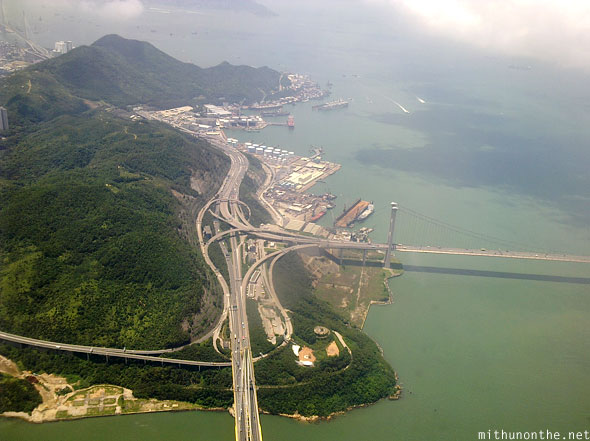 Hong Kong bridge to Lantau island aerial view