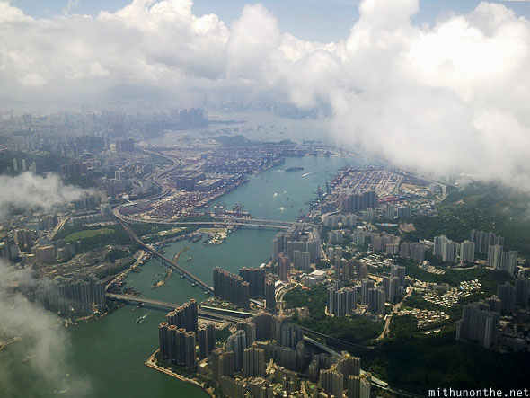 Hong Kong city aerial view