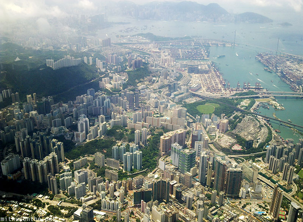 Hong Kong city from airplane