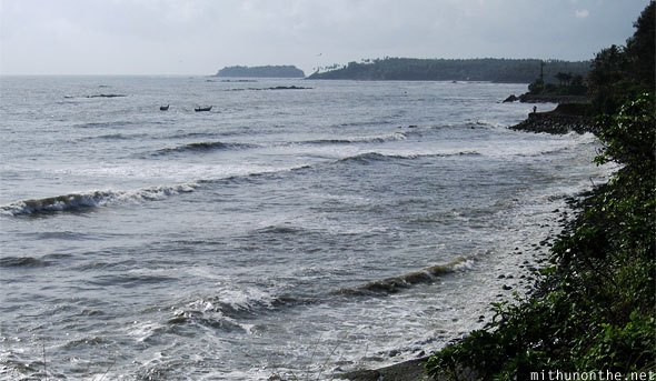 Kannur rocky shore high tide Kerala