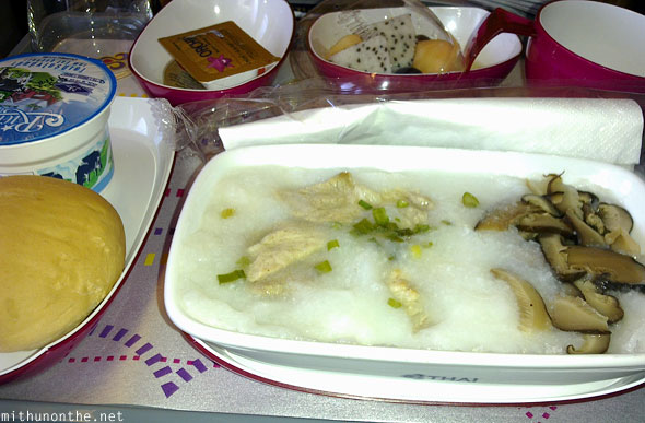 Thai Airways breakfast meal Hong Kong flight