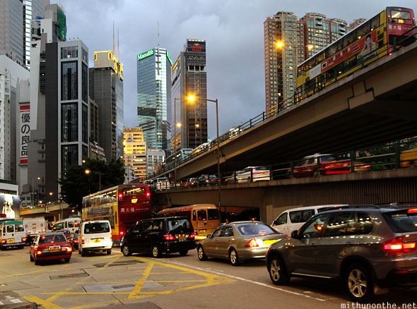 Causeway Bay evening traffic Hong Kong