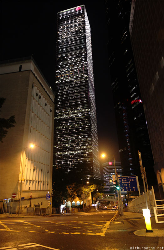 Cheung Kong center at night Hong Kong panorama