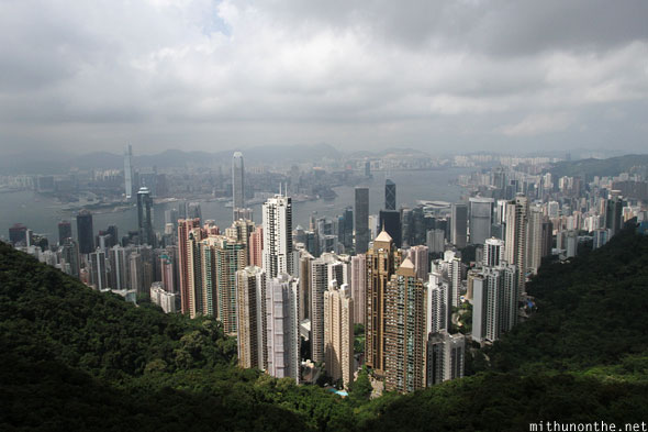 Hong Kong city skyline view from peak