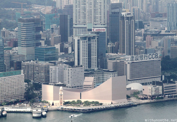 Hong Kong Cultural Centre as seen from from Victoria peak