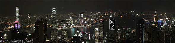Hong Kong skyscrapers at night panorama