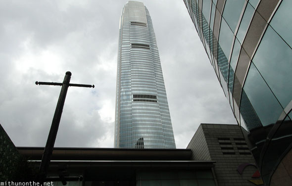 IFC tower Hong Kong grey sky