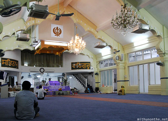 Inside prayer hall Gurudwara Hong Kong
