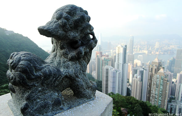 Lion statue stone carving Hong Kong