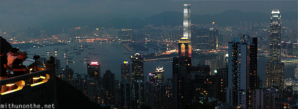 View from Victoria peak at night panorama