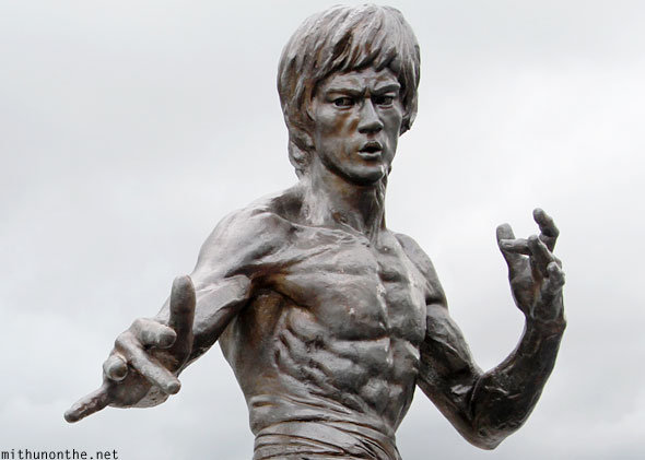 Bruce Lee pose statue Hong Kong