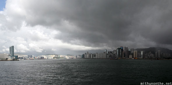 Hong Kong Victoria Bay rain clouds Panorama
