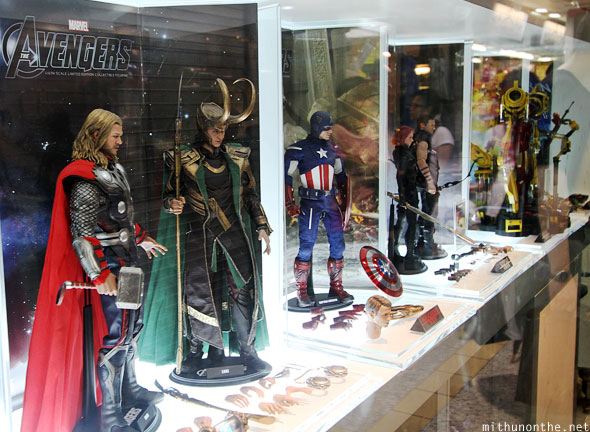 The Avengers figurines display Hong Kong store