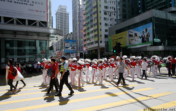 Marching band Nathan road Kowloon Hong Kong