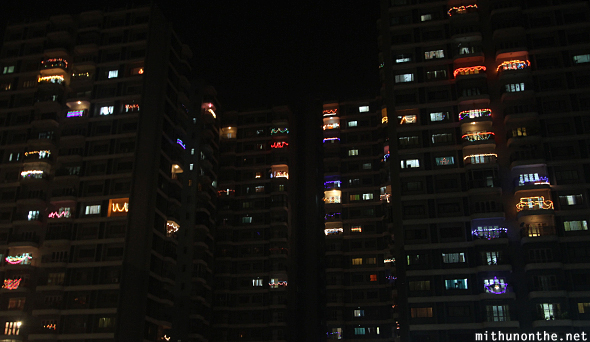 L & T South City apartments Diwali lights
