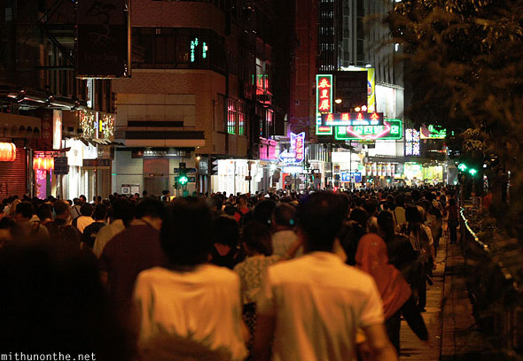 Crowds after fireworks Hong Kong night
