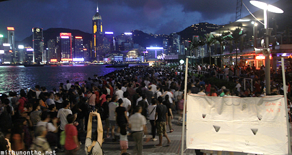 Crowds gathering for fireworks Hong Kong