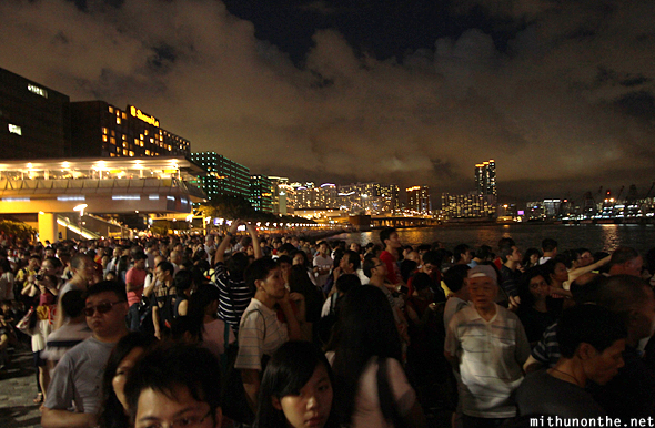 Hong Kong fireworks crowd Victoria bay