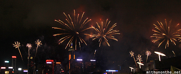 Hong Kong fireworks night sky
