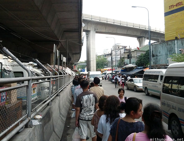 Line for van taxi Bangkok
