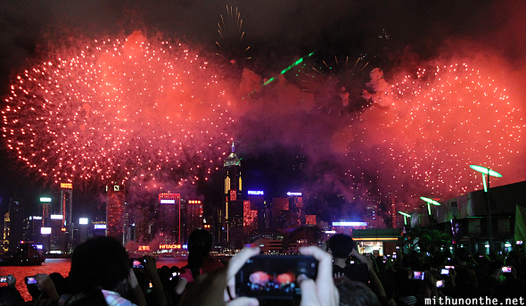 Reunification with China celebration fireworks Hong Kong