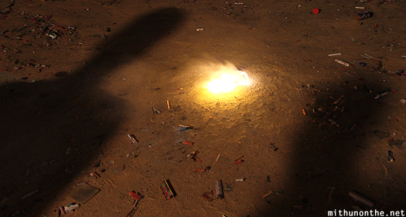 Shadow firecracker on ground Diwali India