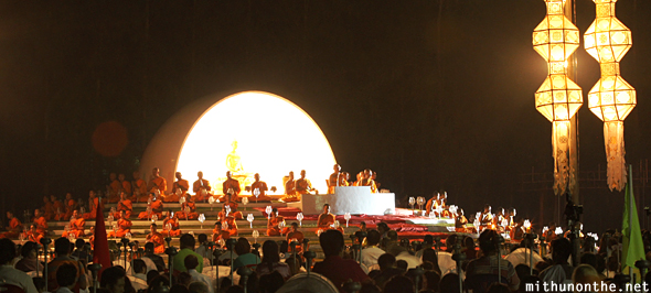 Buddhist monks stage Loi Krathong Thailand